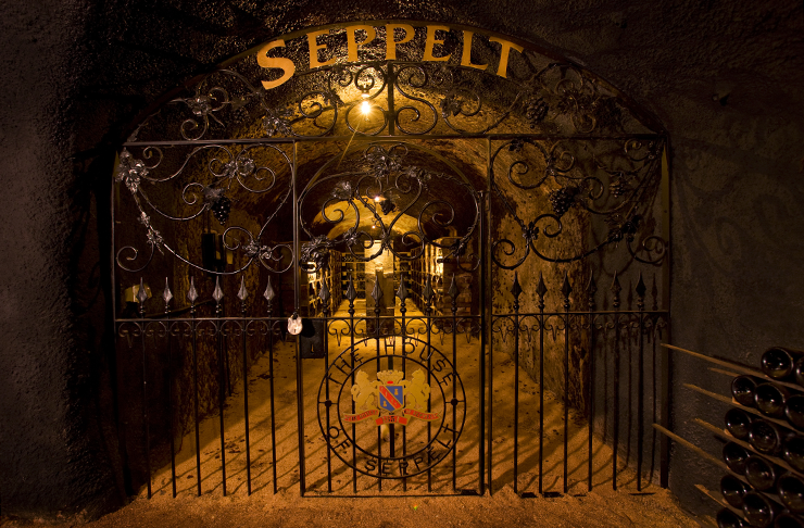 The underground cellars lit up at Seppelt Winery.