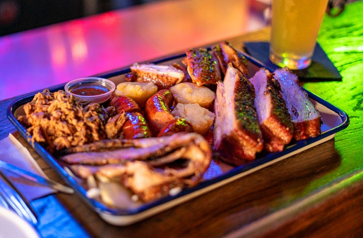 A tray of smoked meats on the bar at Surly's Tavern in Surry Hills, Sydney.