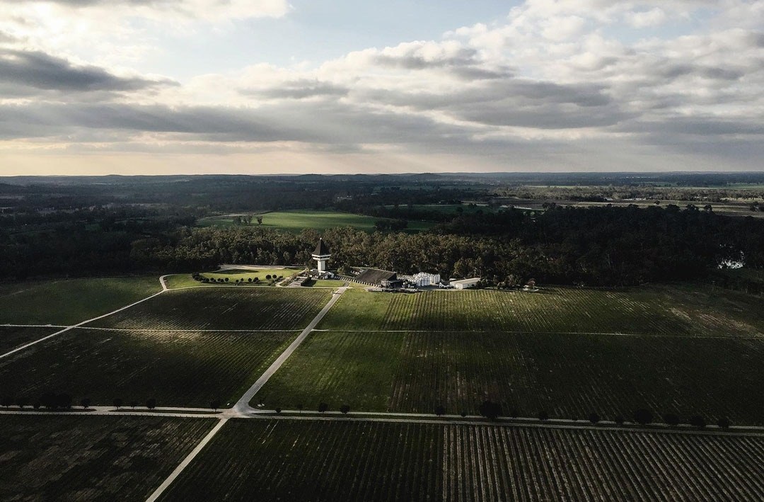 An aerial shot of Mitchelton Hotel and the surrounding estate including it's many vines.