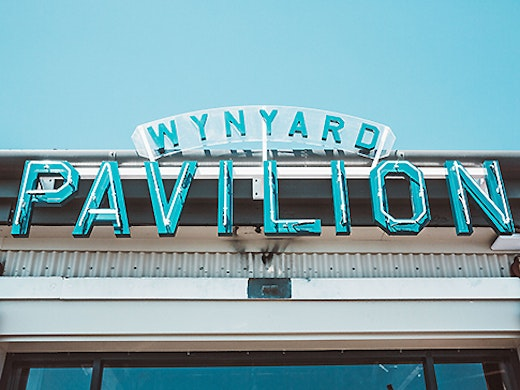 The sign outside Wynyard Pavilion in the sun