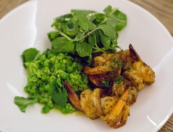 Sambal prawns with sweet pea and mint