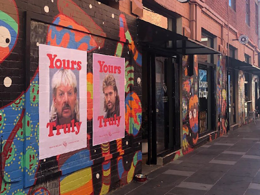 The colourful facade of Footscray barbershop, Yours Truly.