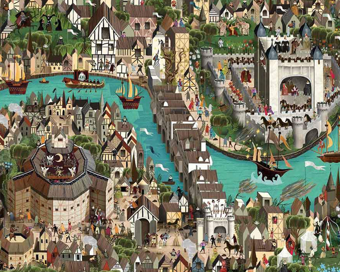 Picture of a puzzle depicting an illustration of London, with old buildings, the river thames filled with ships and The Globe.