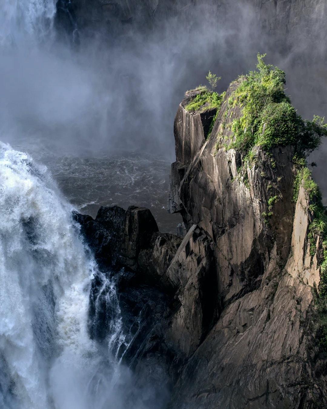 mist surrounding the bottom of barron falls