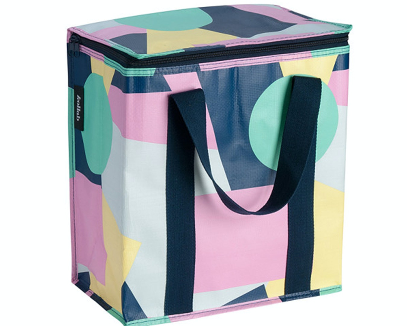 a multi-coloured cooler bag with navy cotton handles.