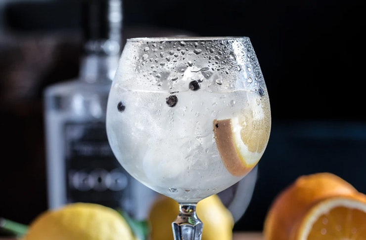 close up of gin cocktail loaded with berries and citrus fruits