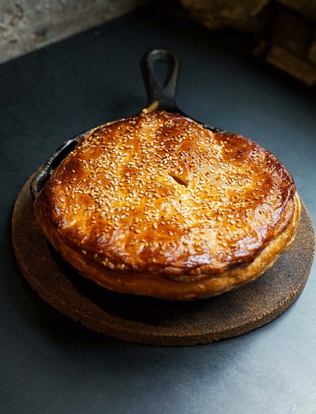 meat pie in skillet at kitchen by mike