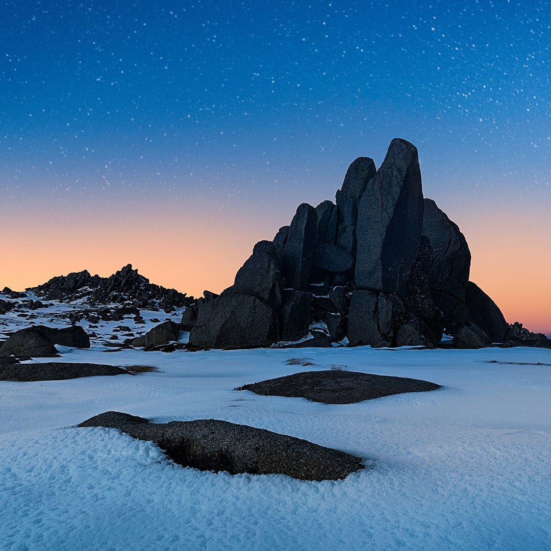Dusk at the Tor, mount Kosciuszko, in New South Wales, Australia.