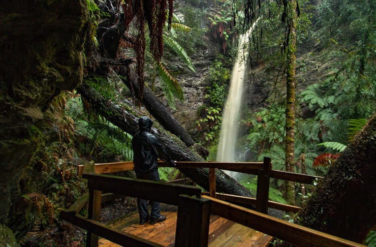 person standing wearing raincoat on wooden deck in fron of lovers falls in tasmania
