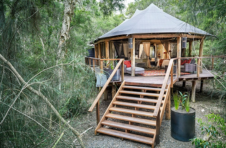 a secluded wooden cabin, with a tent-like roof, sits in the middle of the bush.