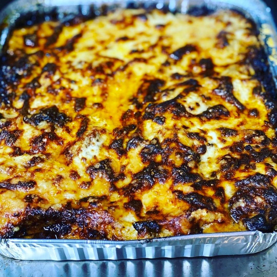 big tray of veggie lasagne
